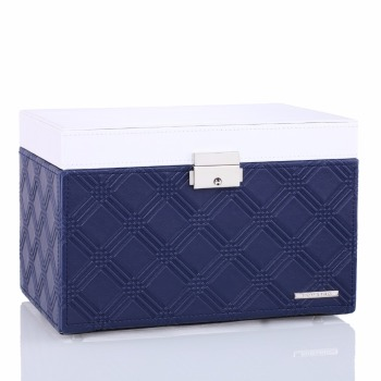 Blue Large Jewelry Storage Box Leather