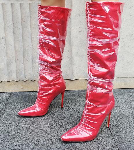 Grande Soie Taille Hot Scène Chaussures Femmes En Rouge Transparent Minces Sexy Des plaid Talons Bout De Mi noir Pointu mollet Bottes pPSpq