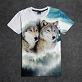 Hot Cute Gray Wolf Couple 3D Print T-shirt Cotton Unisex Summer Tee Shirts Teen Loose Homme Tops prachtige voorouders wild