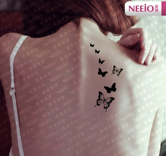 Black little butterfly temporary tattoos for fingers wrist for Fake neck tattoo