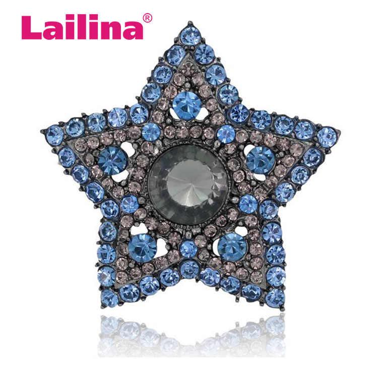 Harga Grosir Fashion Bros Berlian Imitasi Pentagram Bintang Pin Bros Perhiasan Hadiah