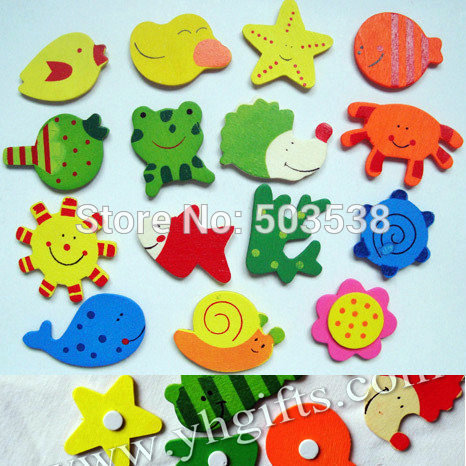 750PCS/(50bags)LOT.Mixed animal wood stickers,Kids toys,scrapbooking kit,Early educational DIY.Kindergarten crafts.Classic toys.