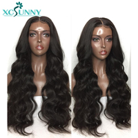 xcsunny Preplucked Full Lace Human Hair Wigs With Baby Hair Body Wave Brazilian Remy Hair Lace Wig Bleached Knots 130% Density
