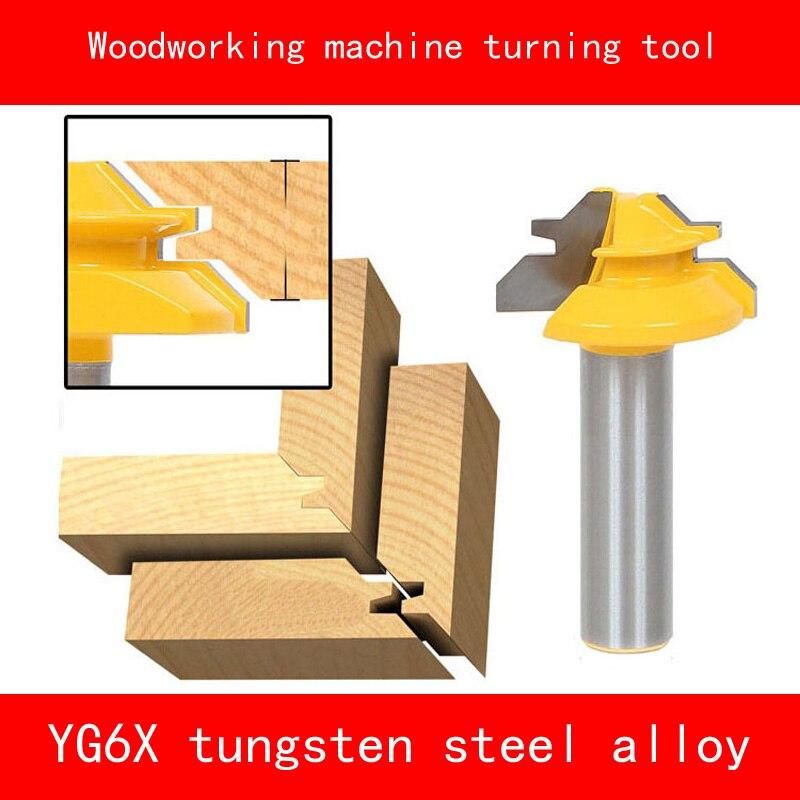 Máquina do Woodworking 45 graus virando ferramenta mortise e tenon conjunta YG6X tungstênio liga de madeira fresa 1/4*1-3/8