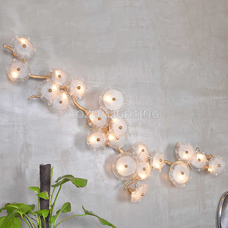 Modern Brass Wall Lamp Wall Light Home Lighting LED Copper Branch Wall Sconce Lamp for Living Dining Room Bedroom Hotel Decor