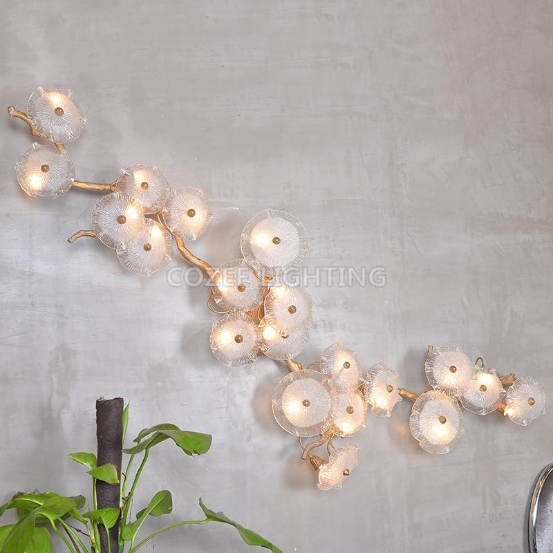 Современные латуни настенный светильник Настенный светильник домашнего освещения светодиодный Медь филиал бра для жизни Обеденная Спальн