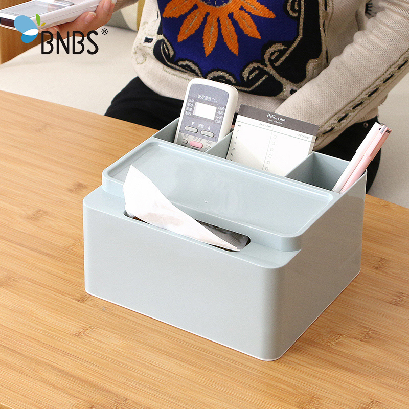 BNBS Makeup Storage Box Offices Desktop Plastic Cosmetic Organizer Container Multifunctional Sundries Storage Tissue Box