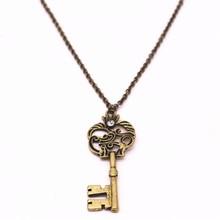 Retro color alloy key inlay semi precious stone pendant female sex male long necklace sweater chain 2017 factory direct sales