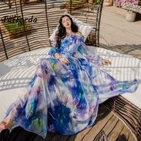 Tafforda 2018 Summer New Model Print Split A Word Collar Dress Party And Wedding Clothes Woman