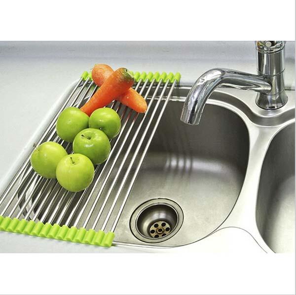 Escurridor de acero inoxidable lavabo plegable plato estante estante  platillo protector de almacenamiento en rack estante platos de la cocina  rackescorredor ... 0c83d2d657d5