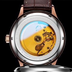 Image 5 - Bestdon montre mécanique automatique, bracelet, marque de luxe, suisse, montre bracelet, en cuir bleu, Phase de lune, pour hommes, 2019