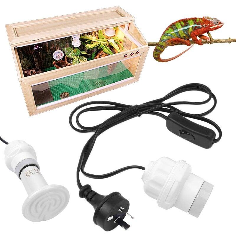 E27 Socket AU Plug Ceramic Light Base 200W AC 110V-250V Reptiles Heating Lamp
