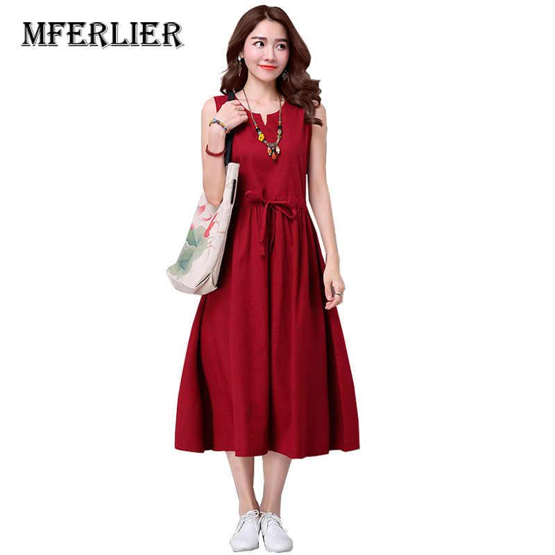 9b1eebb6ef46c10 Женское летнее платье без рукавов из хлопка и льна женское платье Винтаж с  высокой талией повседневное