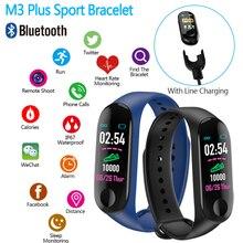 Pulsera inteligente M3 plus 2019, reloj deportivo con podómetro, rastreador de presión arterial, Monitor de ritmo cardíaco, banda deportiva