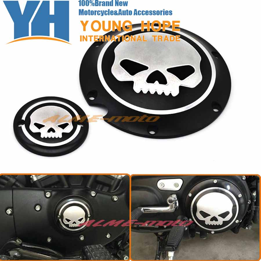 Black Deep Cut Skull Derby & Timing Timer Cover For Harley Sportster Iron Seventy-Two Forty Eight XL883 XL1200 2004-2015 2016 motorcycle black skull derby timer cover clutch timing cover for harley davidson sportster iron xl 883 1200 72 48 2004 2017