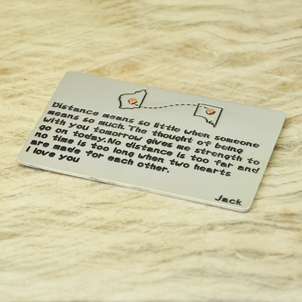 Personalised Map Wallet Keepsake Card Engraved Wallet Card Anniversary, Wedding Day Gift, Grooms Gift for Him