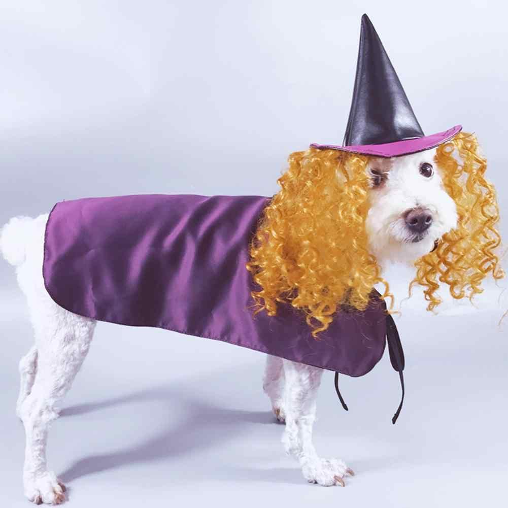 TPFOCUS 4 размера Классическая собака Хэллоуин косплей ведьма фиолетовый плащ манекен для шарфа парика костюм для домашних собак аксессуары