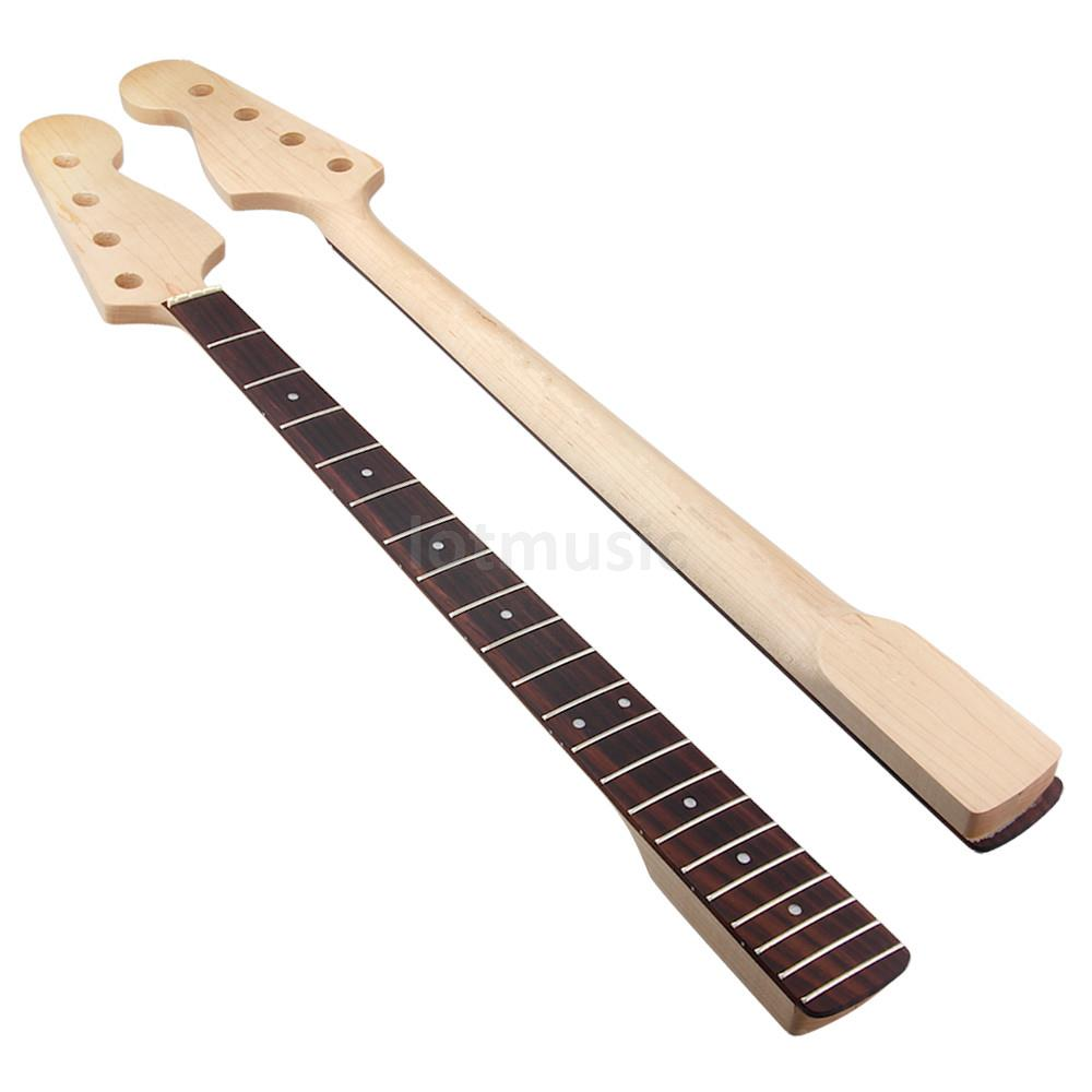 Kmise Bone Nut Electric Bass Neck for Precision Bass Replacement Canada Maple 21 Fret Rosewood Fingerboard Bolt On Clear Satin