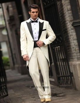 Handsome Tailcoat Ivory Long Coat Groom Tuxedos Groomsman Men's Wedding Prom Suits Custom Made Men Suits(Jacket +Pants+Bow Tie)