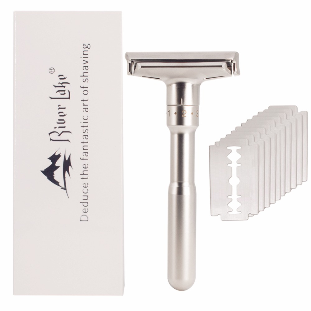 Adjustable Safety Razor Mens Shaving Double Edge Classic Safety Razor Blade Exposure Six Levels shaver formen1 handle 10 blades 2