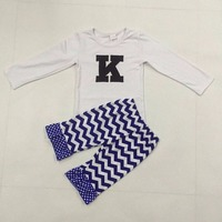 New Design Girls Boutique Clothing Set Letter K Embroidered Football Deco White Blue Chevron Ruflle Pants