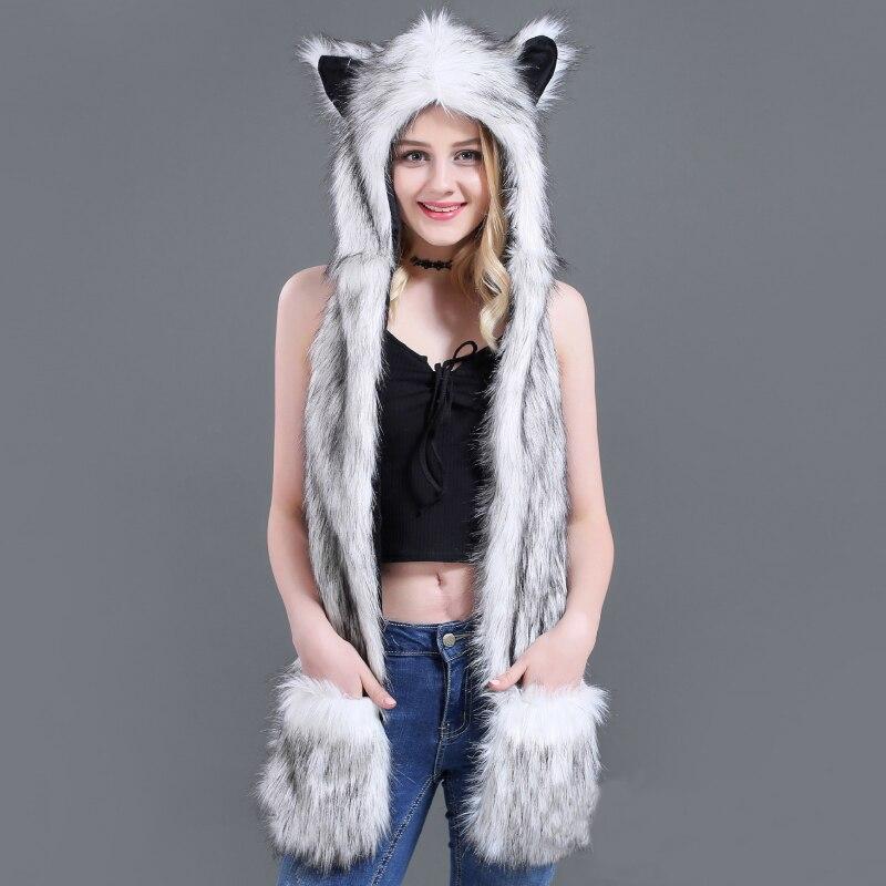 NSH001 3 In 1 Women Winter Set Warm Soft Hood Scarf Hat Gloves Set Flush Caps Faux Fur Animal Hats For Women Long Winter Cap Set