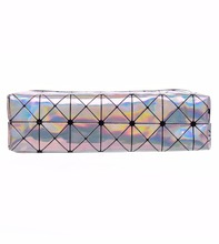 Who Cares Holo Graphic Triangle Organizer Women Leather Cosmetic Bags Brand Makeup Bag Students Pencil Cases Maleta De Maquiagem