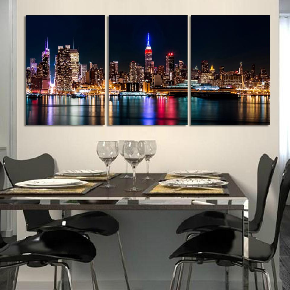 Free Shipping 3 Piece Wall Art Set City Hall Night Lights Beside River Wall Decoration Pictures Modern Art Printed On Canvas
