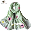 Cute Embroidery Flower Children Scarf Sweet Design Pure Cotton Scarves for Kids Winter Warm Neck Princess Girls Scarfs