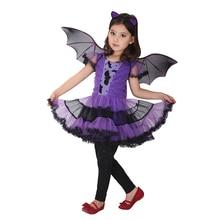 90 160 cm בנות ליל כל הקדושים סגול עטלף ערפד נסיכת שמלת כנף סרט קוספליי תלבושות ילדים סטי מפחיד ליצן מכשפה בגדים