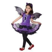 90 160cm Girls Halloween Purple Bat Vampire Princess Dress Wing Headband Cosplay Costume Kids Sets Scary Clown Witch Clothes