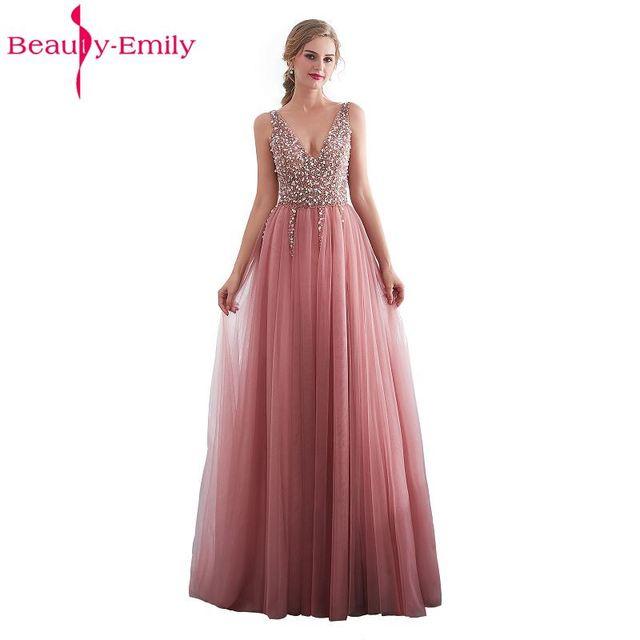 Beauty Emily Beads Lace Formal Evening Dresses 2018 long Plus Size A-Line  Evening Party Dresses Floor-Length Prom Dress Elegant 443a1d6c47dc