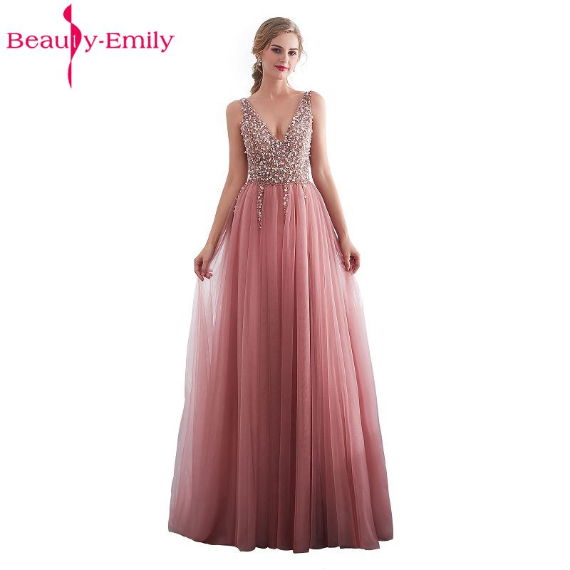 Beauty Emily Beads Lace Formal   Evening     Dresses   2018 long Plus Size A-Line   Evening   Party   Dresses   Floor-Length Prom   Dress   Elegant