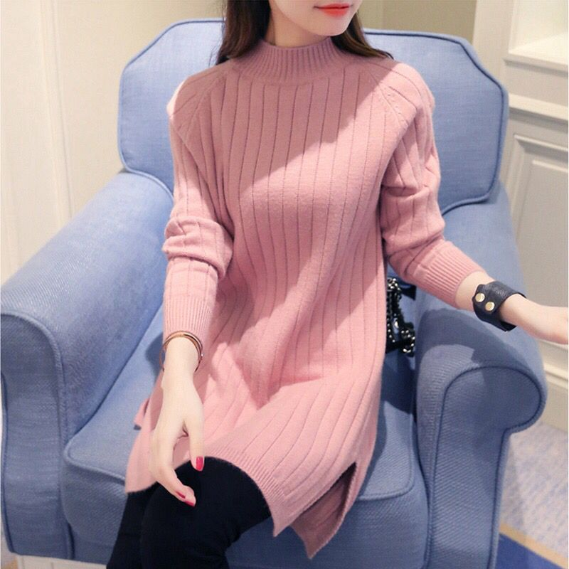 New  Fashion 2019 Women Autumn Winter  Long Sweater Pullovers Dress  Casual Warm Female Knitted Sweaters Pullover  Lady