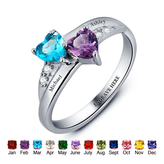 21fc9fea4441b US $25.26 9% OFF|Custom Rings Engagement Ring Styles Customized &  Personalized Birthstone Rings Promise Heart Rings 925 Sterling Silver  Jewelry-in ...