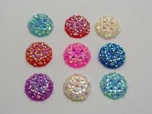 100 разноцветных плоских круглых кабошонов драгоценных камней