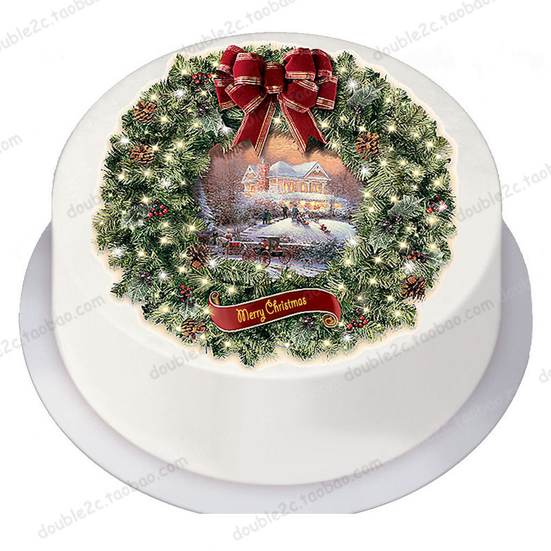 1pc Merry Christmas bell Cake Topper edible paper cake ...