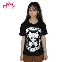 J Fashion Harajuku Social Shirt Black Devil Sailor Moon Graphic Tees Cute Soft Sister Women Tops
