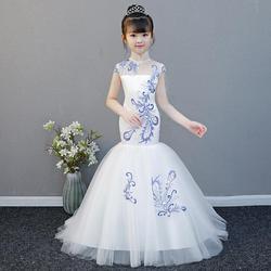 Платье принцессы в китайском стиле в стиле ретро одежда для девочек Детский костюм для свадебной вечеринки с вышивкой Модное детское вечер...