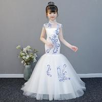 Retro Chinese Style Baby Princess Dress Girl Clothes Embroidery children Wedding Party Costume Fashiom Kids Evening Gown Y482
