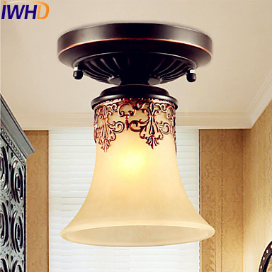 Europe Retro Vintage Ceiling Light Fixtures Plafonnier Living Room Lights Cafe Flush Mount Ceiling Lamps Home
