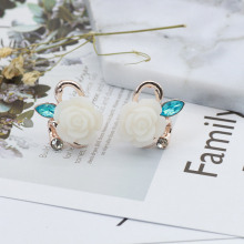 Rhinestone Ear Cuffs For Women Fashion Stud Earrings Rose Flower Ear Cuffs Piercing For Halloween Christmas Gifts Dropshipping(China)