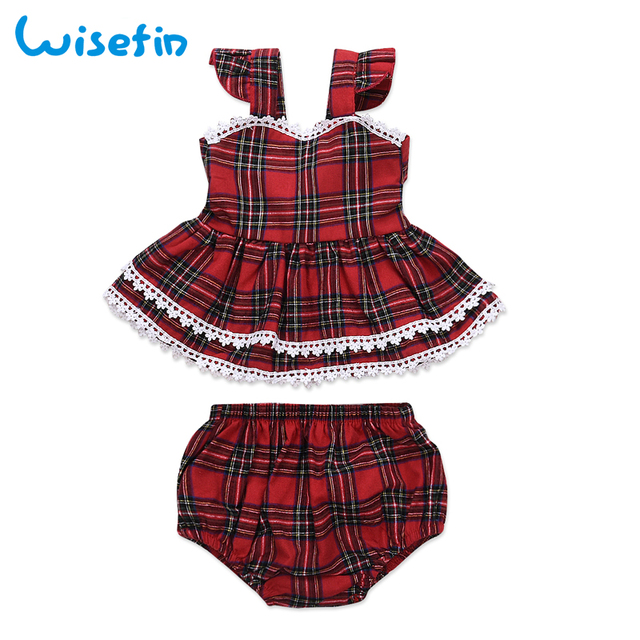 wisefin baby girl clothes dresses 2018 christmas baby clothing set summer straps plaid dressshorts - Christmas Plaid Dress