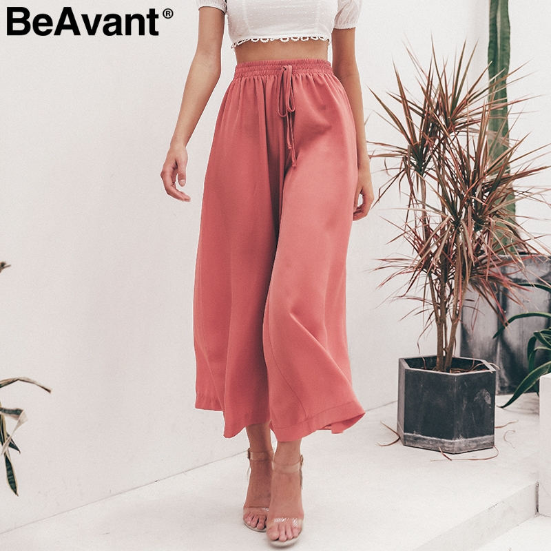 BeAvant Casual loose wide leg   pants   women Plus size high waist   pants   female trousers Streetwear summer   pants     capris   bottoms 2019