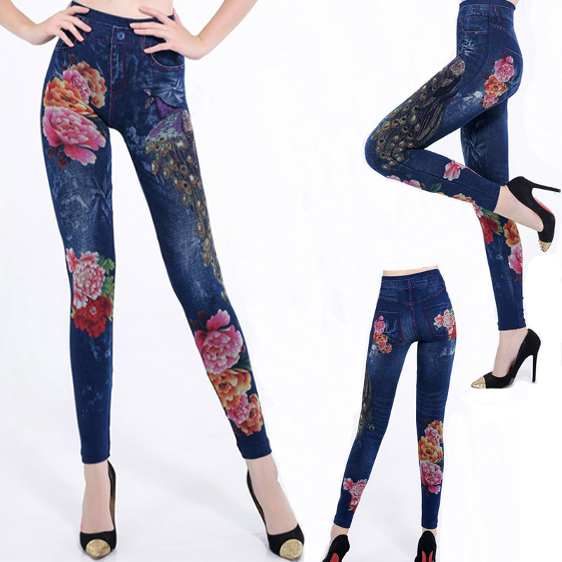 2019 women   Leggings   High Waist Sexy Jeans Prints Mock Pockets Workout Jeggings Push Up Hips Skinny Trousers Plus Size