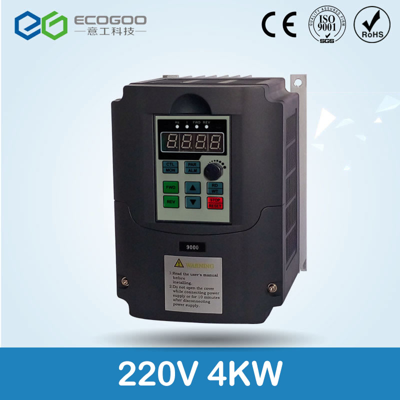 цена на Ecogoo 4kw 5HP 400hz general VFD inverter frequency converter 1PHASE 220VAC input 3phase 0-220V output 16A