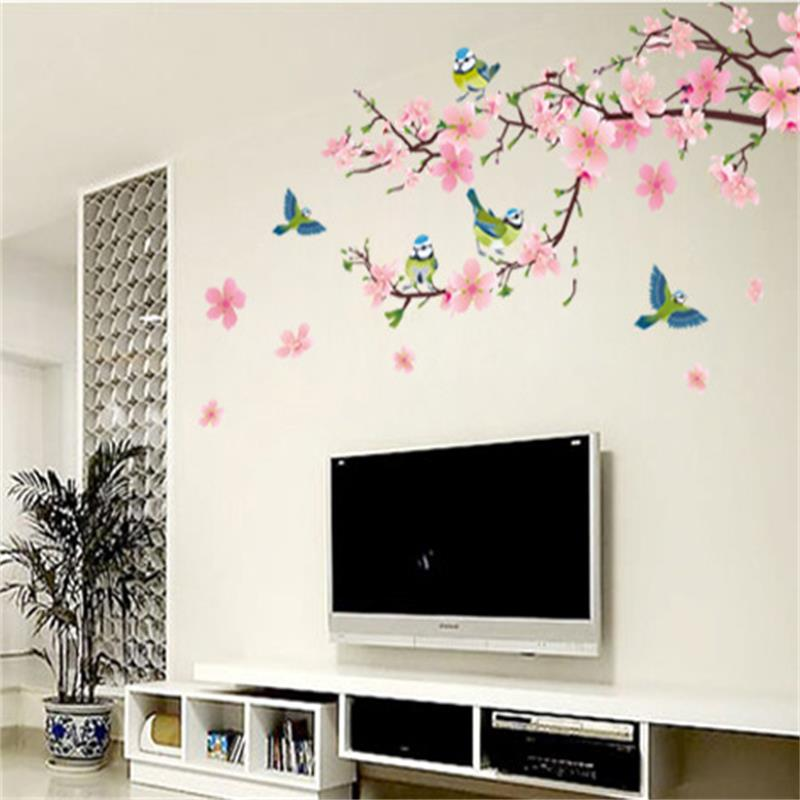 Large Elegant Flower Wall Stickers Graceful Peach Blossom birds Wall Stickers Furnishings Romantic Living Room Decoration Poster