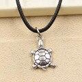 Moda de nova prata tibetana pingente de tartaruga colar choker charme cordão de couro preto preço de fábrica artesanal jewlery