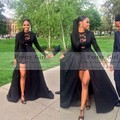 Sexy See Through Black Lace High Low Prom Dresses 2016 Elegant Long Sleeve Evening Gowns Cheap Party Dress vestidos de festa