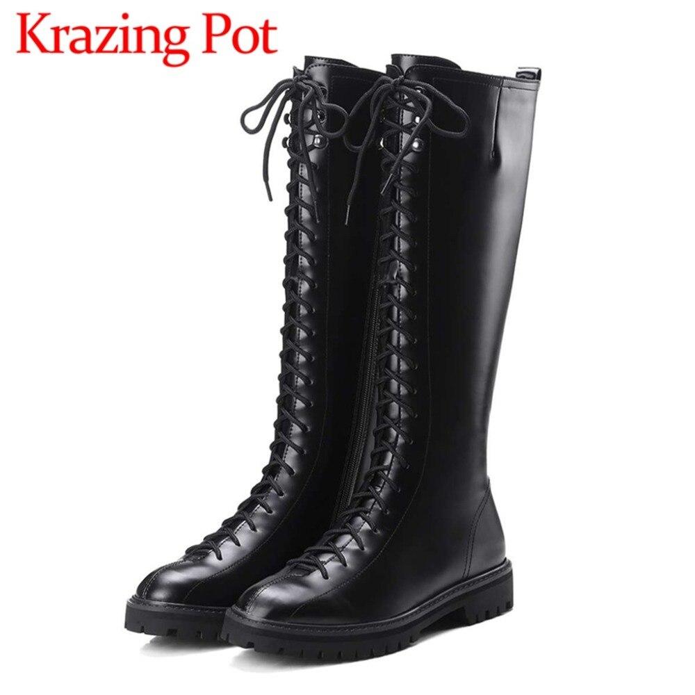 Haute qualité populaire bottes western rock filles punk style bout rond mode cuissardes bottes fermeture éclair à talons bas du genou- haute bottes L20